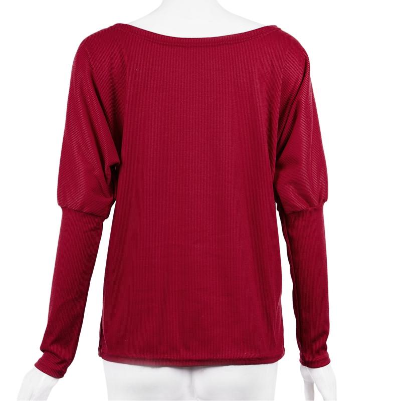 T-Shirt-Chandail-Cotele-En-Tricot-A-Longues-Manches-Une-Epaule-Sexy-Pour-Fe-E6P1 miniature 32