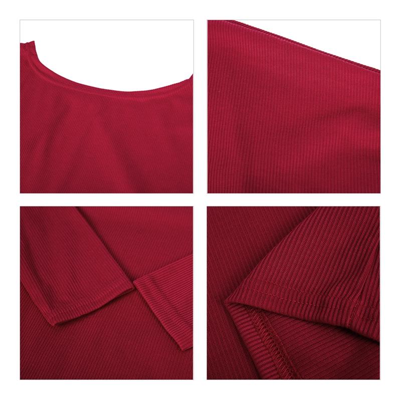 T-Shirt-Chandail-Cotele-En-Tricot-A-Longues-Manches-Une-Epaule-Sexy-Pour-Fe-E6P1 miniature 33