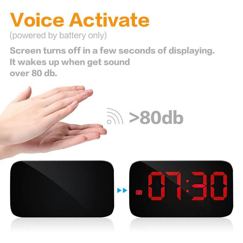 Reveil-Reveil-Numerique-Avec-Commande-Vocale-Et-Grand-Snooze-Horloge-LED-G3C3 miniature 5
