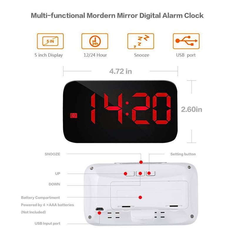 Reveil-Reveil-Numerique-Avec-Commande-Vocale-Et-Grand-Snooze-Horloge-LED-G3C3 miniature 7