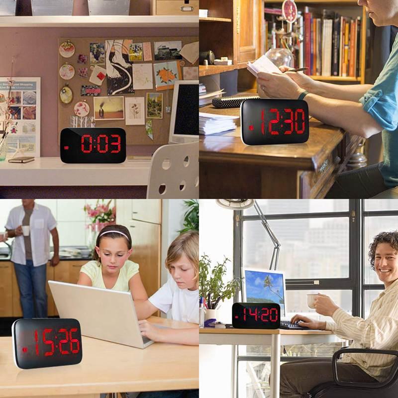Reveil-Reveil-Numerique-Avec-Commande-Vocale-Et-Grand-Snooze-Horloge-LED-G3C3 miniature 9