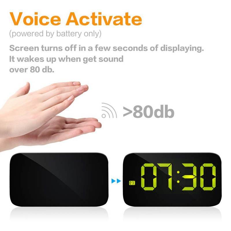 Reveil-Reveil-Numerique-Avec-Commande-Vocale-Et-Grand-Snooze-Horloge-LED-G3C3 miniature 14
