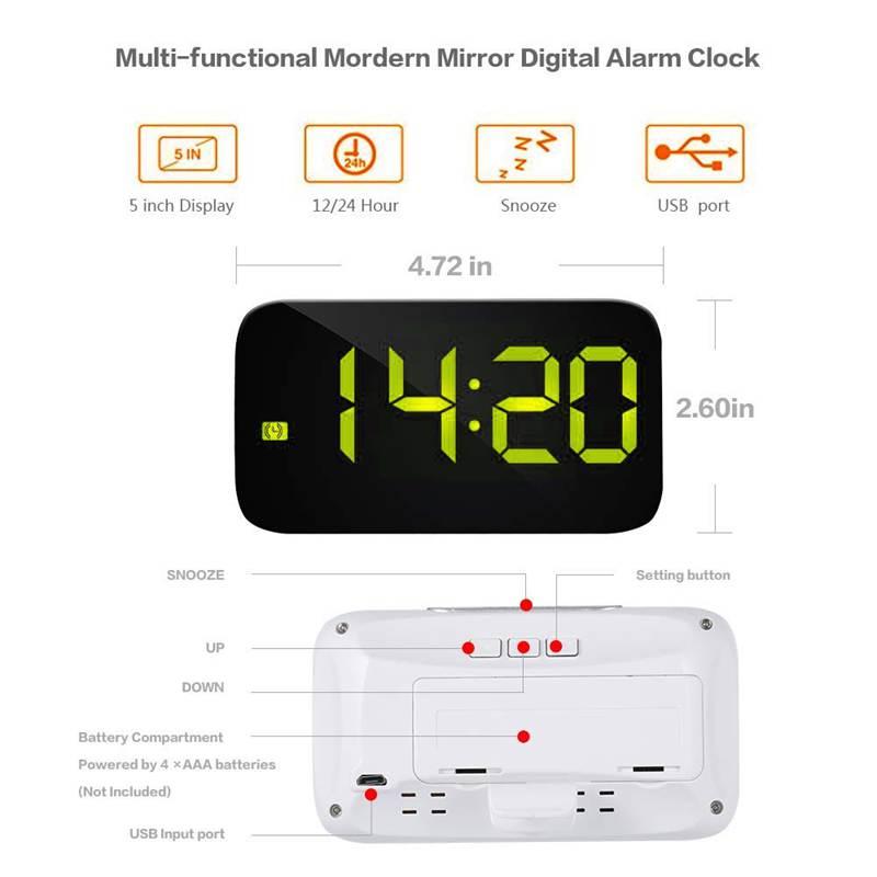 Reveil-Reveil-Numerique-Avec-Commande-Vocale-Et-Grand-Snooze-Horloge-LED-G3C3 miniature 16