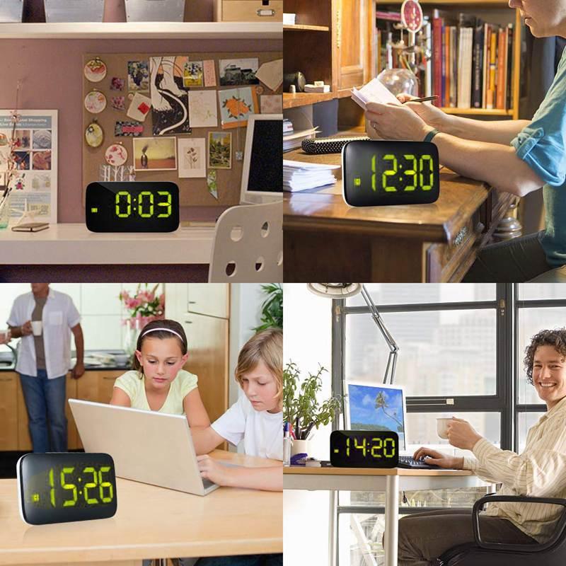 Reveil-Reveil-Numerique-Avec-Commande-Vocale-Et-Grand-Snooze-Horloge-LED-G3C3 miniature 19