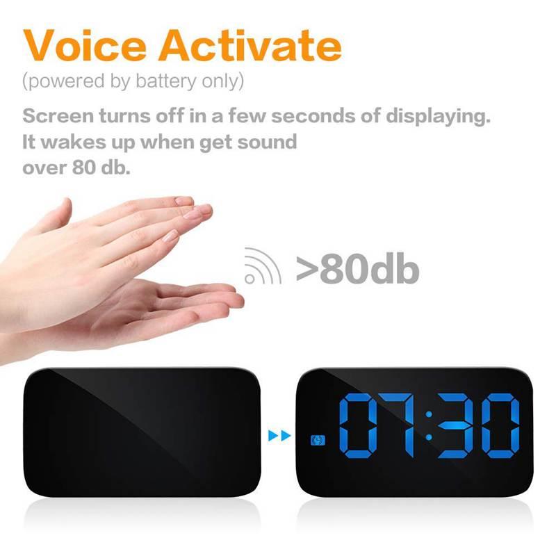 Reveil-Reveil-Numerique-Avec-Commande-Vocale-Et-Grand-Snooze-Horloge-LED-G3C3 miniature 21