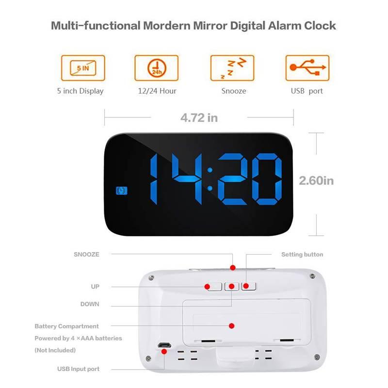 Reveil-Reveil-Numerique-Avec-Commande-Vocale-Et-Grand-Snooze-Horloge-LED-G3C3 miniature 23
