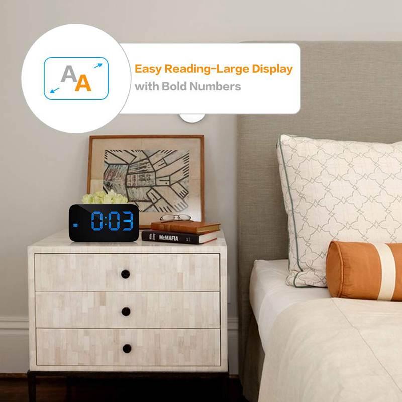 Reveil-Reveil-Numerique-Avec-Commande-Vocale-Et-Grand-Snooze-Horloge-LED-G3C3 miniature 24