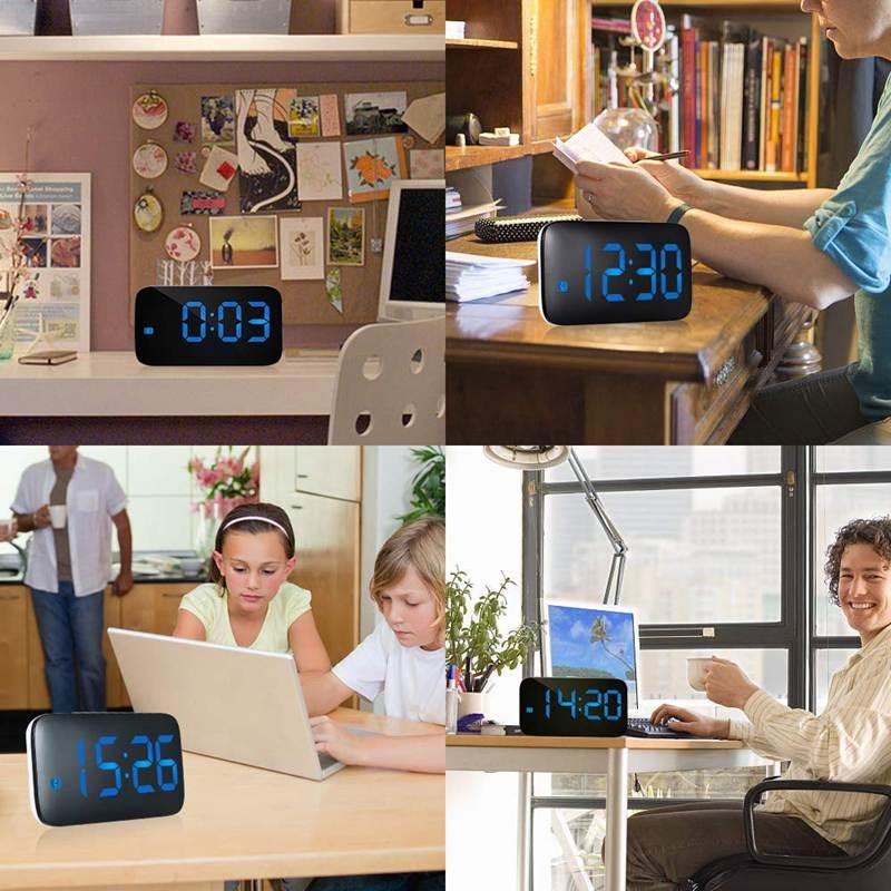 Reveil-Reveil-Numerique-Avec-Commande-Vocale-Et-Grand-Snooze-Horloge-LED-G3C3 miniature 25