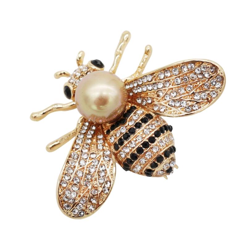 Gold Fish Brooch for Women Crystal Brooch Simulated Pearl Animal Enamel Pin N5C6