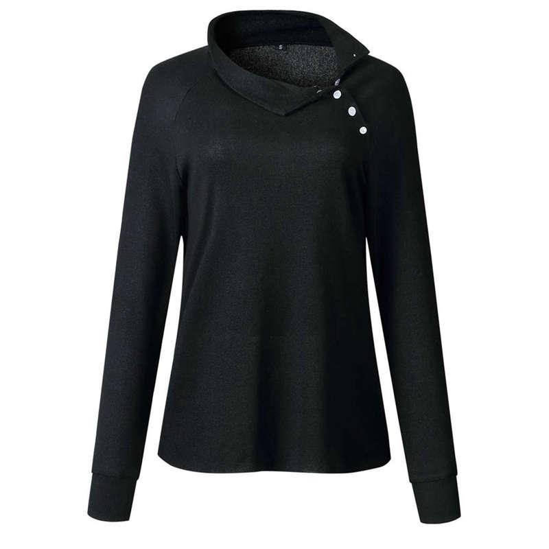 Mode-Feminine-Chaude-Boutons-A-Manches-Longues-En-Tricot-En-Cote-Chandail-T-V9H8 miniature 9