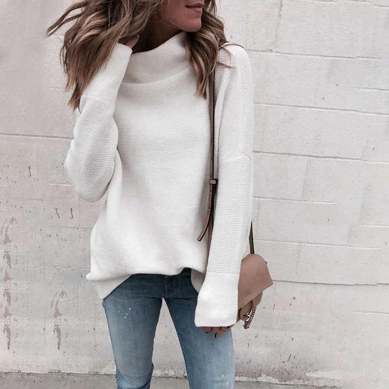 Femmes-Automne-Mode-Col-Roule-A-Manches-Longues-En-Tricot-T-Shirt-Dames-Dec-V3Z9 miniature 3