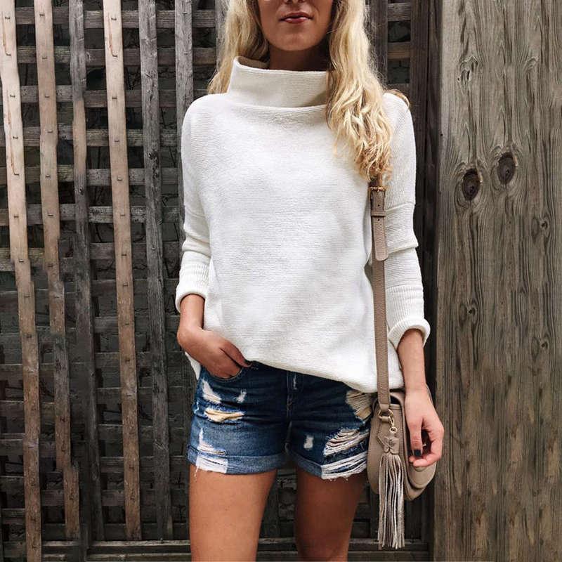 Femmes-Automne-Mode-Col-Roule-A-Manches-Longues-En-Tricot-T-Shirt-Dames-Dec-V3Z9 miniature 4