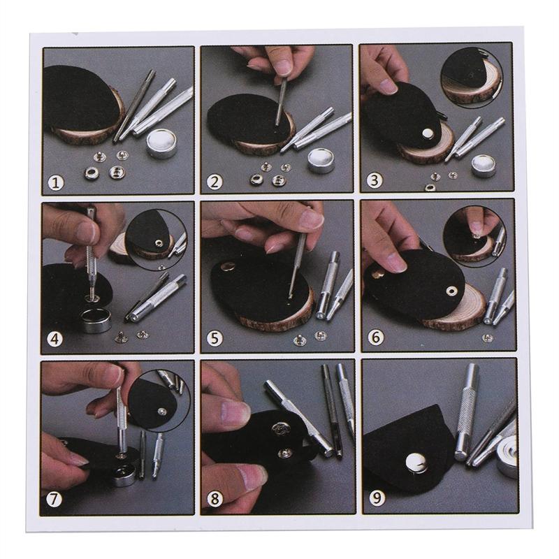120 Pieces 4 Couleurs Boutons Pression Bouton Pression En Cuir Trousse Jean M5R3