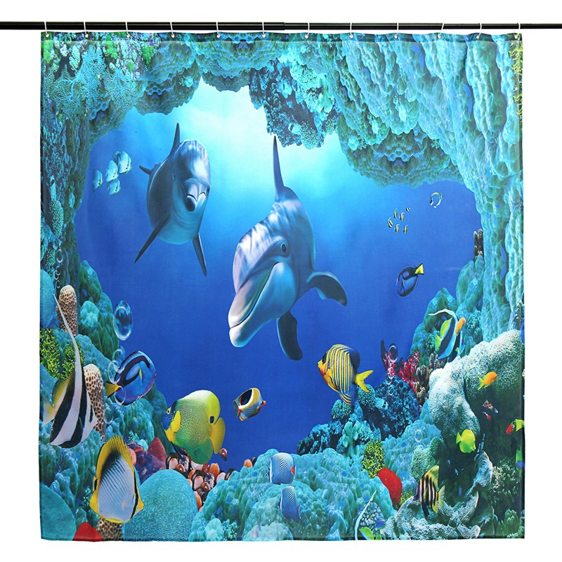 3X(Oceano Delfino Deep Sea Shower Curtain Bagno Impermeabile con 12 Ganci P C8A5