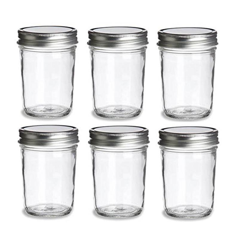 2X (6 piezas de vidrio Mason Frasco con Tapa , Para Mermelada, Miel, Boda, Ducha, bebé V2P1)