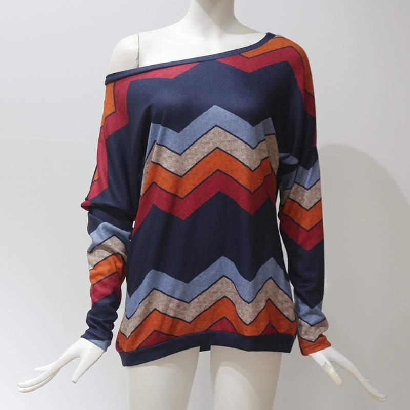 Moda-de-Otono-Para-Mujer-Camiseta-Estampada-Ondulado-Geometrico-de-Manga-La-X4X1 miniatura 3
