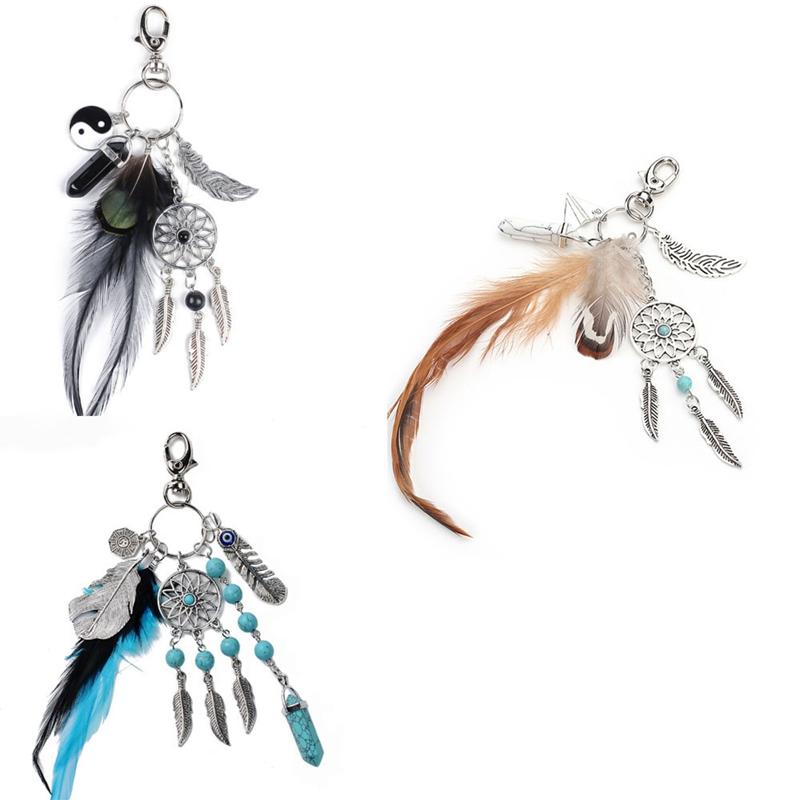 2X-Dream-Catcher-Keyring-Bag-Charm-Fashion-Boho-Jewelry-Feather-Keychain-M6L8 thumbnail 15