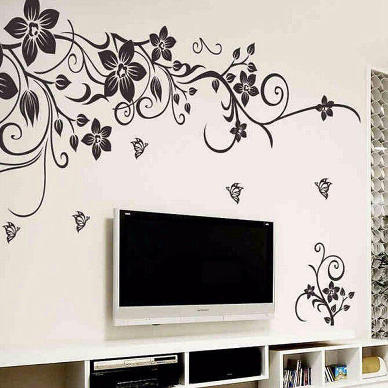 Dettagli su Fiore Vine Adesivi Murali Bagno Decorazione Della Casa Camera  Da Letto Sogg J1F4