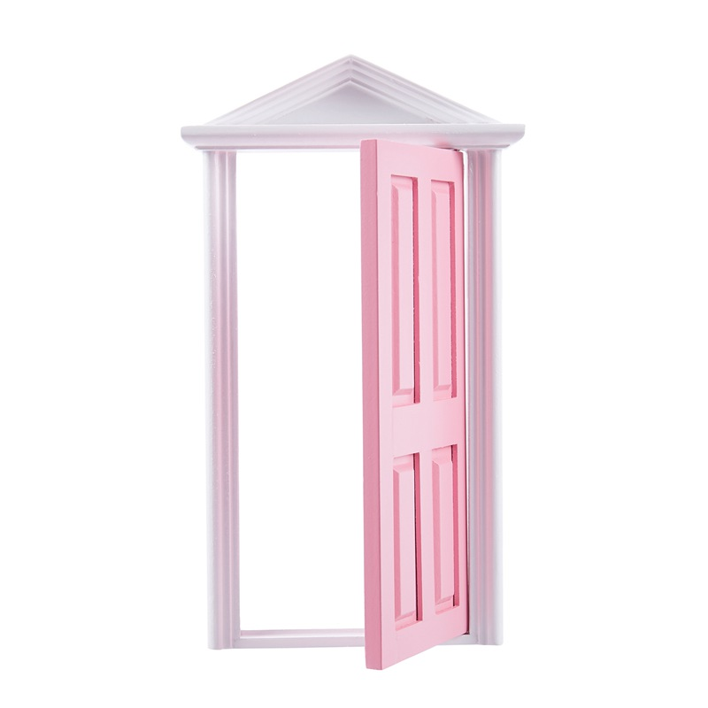 1-12-Scale-Wooden-Fairy-Steepletop-Door-Dollhouse-Miniature-Accessory-Pink-F8Y7 thumbnail 2