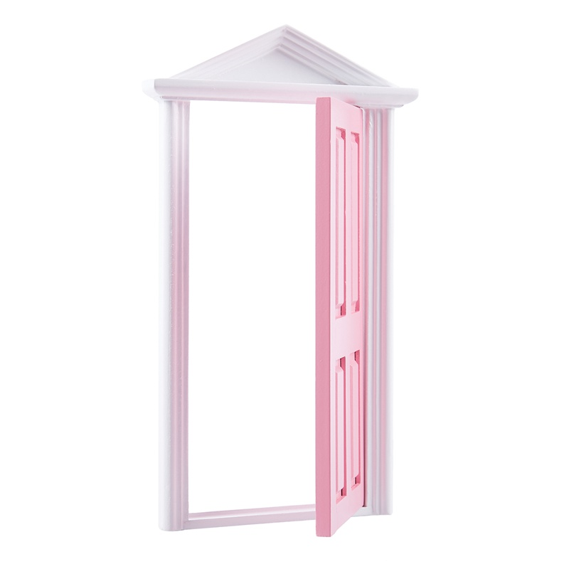 1-12-Scale-Wooden-Fairy-Steepletop-Door-Dollhouse-Miniature-Accessory-Pink-F8Y7 thumbnail 3
