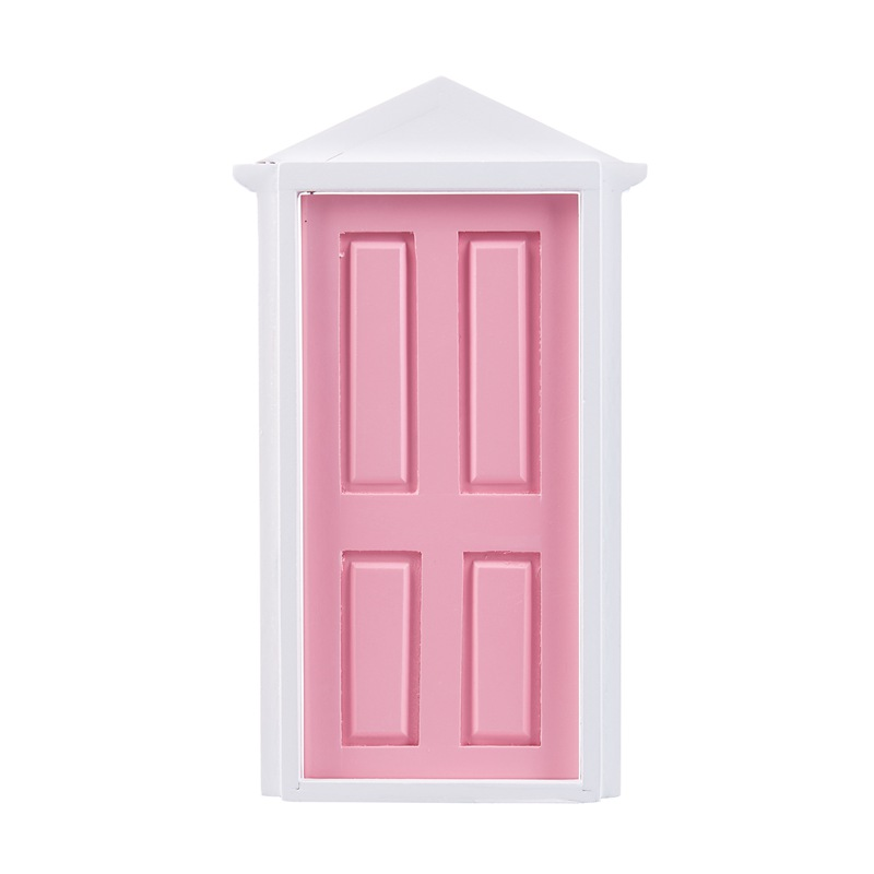 1-12-Scale-Wooden-Fairy-Steepletop-Door-Dollhouse-Miniature-Accessory-Pink-F8Y7 thumbnail 4