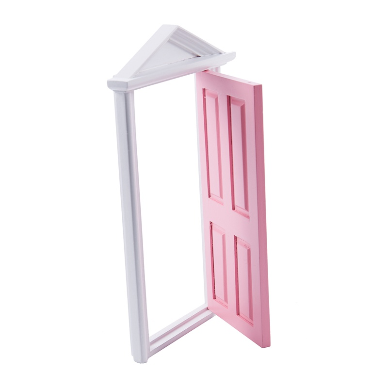 1-12-Scale-Wooden-Fairy-Steepletop-Door-Dollhouse-Miniature-Accessory-Pink-F8Y7 thumbnail 8