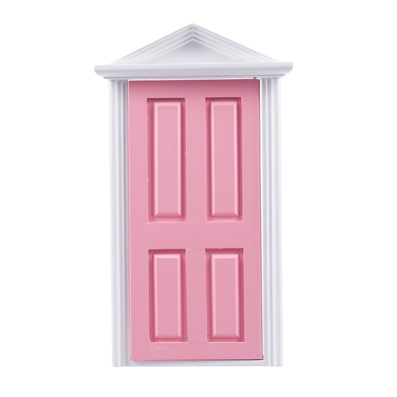 1-12-Scale-Wooden-Fairy-Steepletop-Door-Dollhouse-Miniature-Accessory-Pink-F8Y7