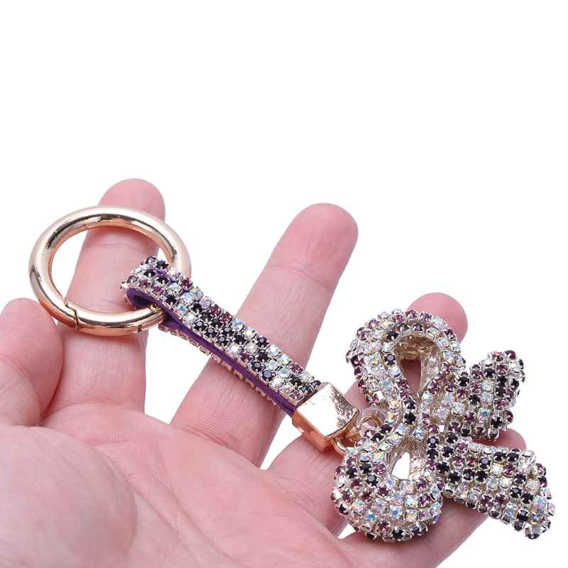 1-Pcs-Rhinestone-Bow-Jewelry-Keychain-Women-Key-Holder-Chain-Ring-Car-Bag-P-X5T4 miniature 47