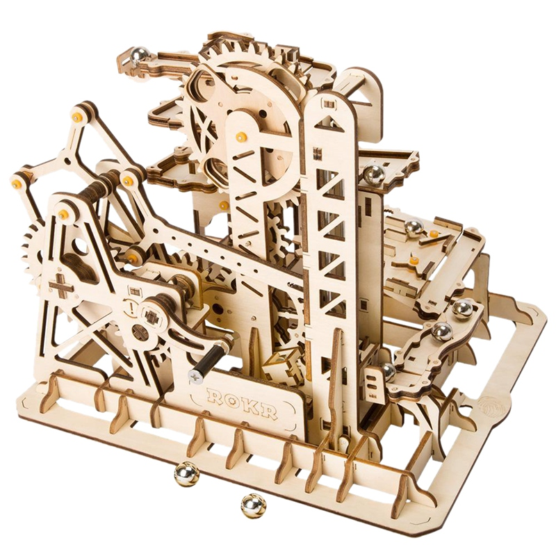 Robotime Marble Run Game Diy Tower Roller Coaster Wooden Model Building Kit U3T2