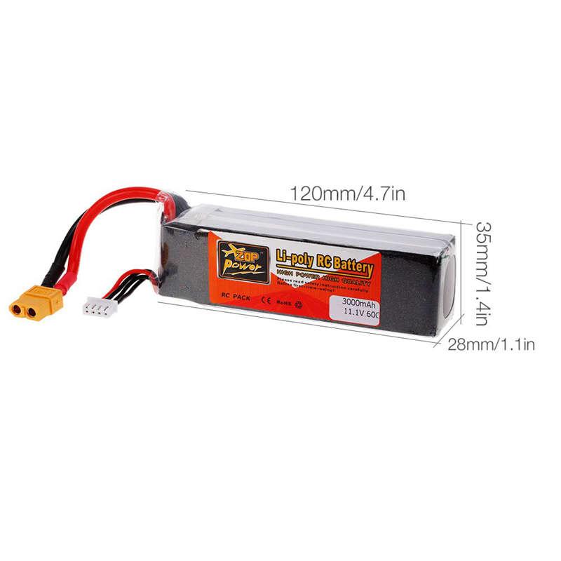 1X-ZOP-POWER-3S-11-1V-3000mah-60C-Alta-Tasa-XT60-Plug-Lipo-Bateria-Para-F330-YU miniatura 4