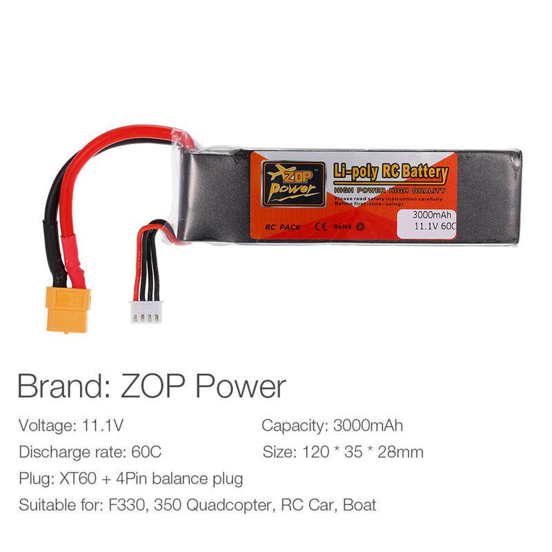 1X-ZOP-POWER-3S-11-1V-3000mah-60C-Alta-Tasa-XT60-Plug-Lipo-Bateria-Para-F330-YU miniatura 6