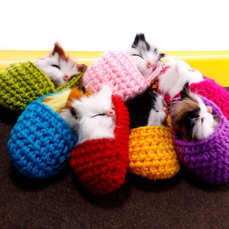 Cat-Keychain-Bag-Car-Ornament-Key-Ring-Chain-slipper-Cat-Keychain-Bag-Penda-W2J4 thumbnail 3
