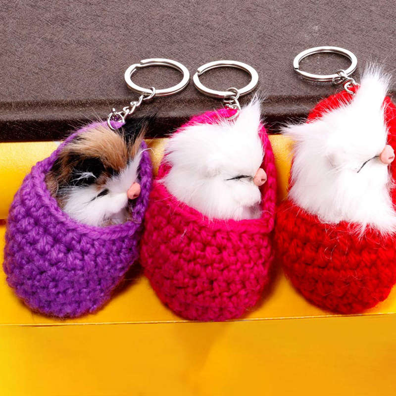 Cat-Keychain-Bag-Car-Ornament-Key-Ring-Chain-slipper-Cat-Keychain-Bag-Penda-W2J4 thumbnail 4