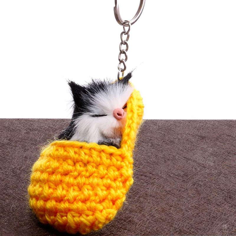 Cat-Keychain-Bag-Car-Ornament-Key-Ring-Chain-slipper-Cat-Keychain-Bag-Penda-W2J4 thumbnail 7