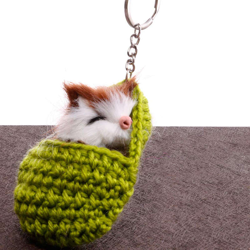 Cat-Keychain-Bag-Car-Ornament-Key-Ring-Chain-slipper-Cat-Keychain-Bag-Penda-W2J4 thumbnail 9