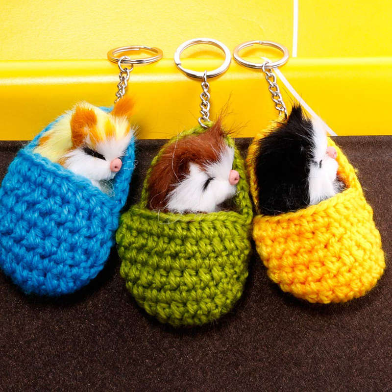 Cat-Keychain-Bag-Car-Ornament-Key-Ring-Chain-slipper-Cat-Keychain-Bag-Penda-W2J4 thumbnail 12
