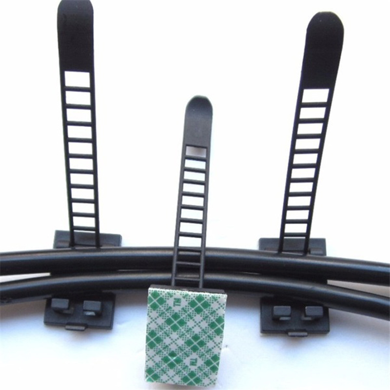 REFURBISHHOUSE 20 Unids Negro Adhesivo Pegajoso Ataduras de Cables Clips de Cable Abrazadera Pl/ástico Autoadhesivo Ataduras de Cables Fijar Clips Titular