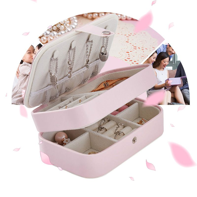 Portable-Women-Jewelry-Box-Storage-Organizer-Girls-Travel-2-Layer-Rectangle-I1J7 thumbnail 2