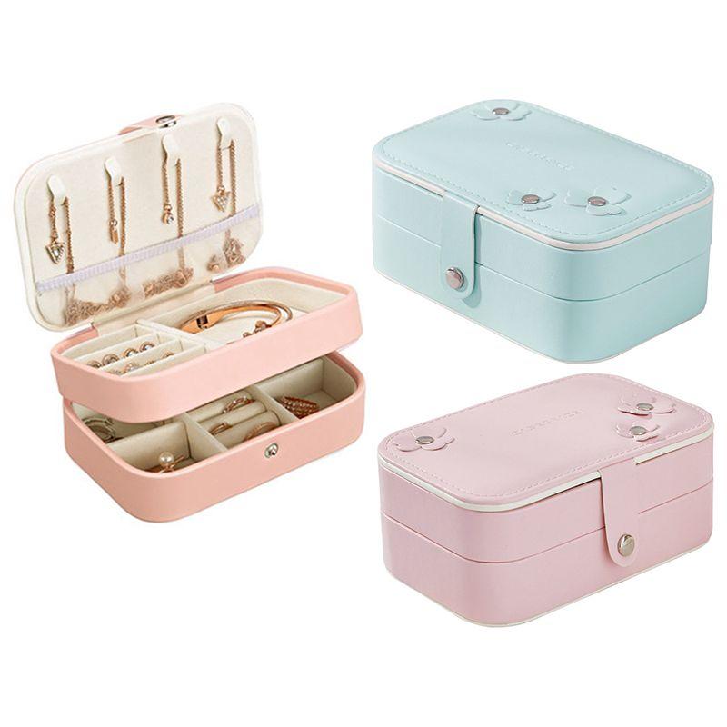 Portable-Women-Jewelry-Box-Storage-Organizer-Girls-Travel-2-Layer-Rectangle-I1J7 thumbnail 3
