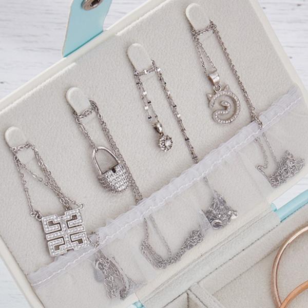 Portable-Women-Jewelry-Box-Storage-Organizer-Girls-Travel-2-Layer-Rectangle-I1J7 thumbnail 5