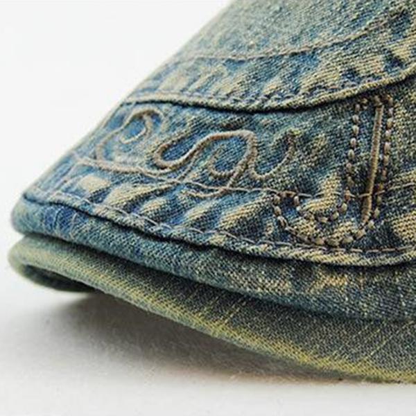 JAMONT-Chapeau-Beret-En-Jean-A-La-Mode-Chapeau-En-Jean-Casquettes-Plates-Cha-7K4 miniature 13