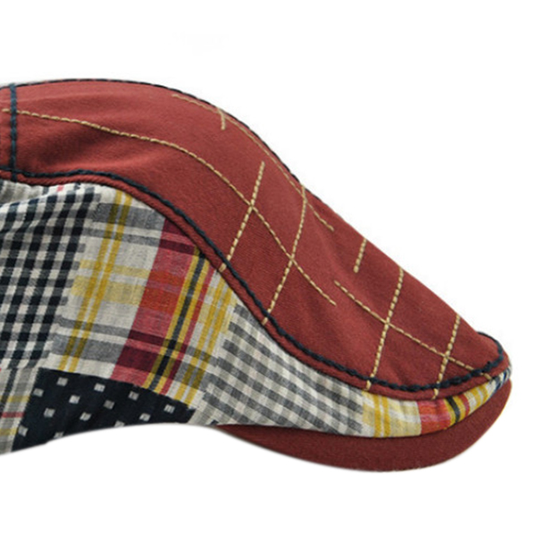 1X-JAMONT-Chapeau-Beret-Patchwork-De-Coton-Chapeau-Plat-Casquette-Plate-A-C-D1H6 miniature 7