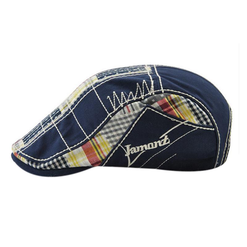 1X-JAMONT-Chapeau-Beret-Patchwork-De-Coton-Chapeau-Plat-Casquette-Plate-A-C-D1H6 miniature 10