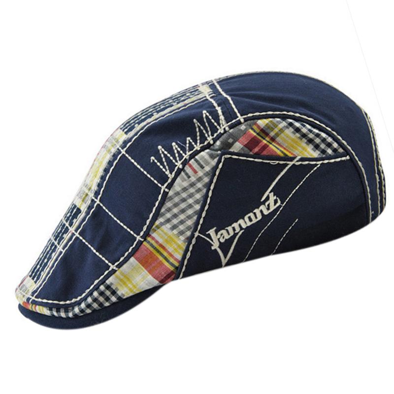 1X-JAMONT-Chapeau-Beret-Patchwork-De-Coton-Chapeau-Plat-Casquette-Plate-A-C-D1H6 miniature 13