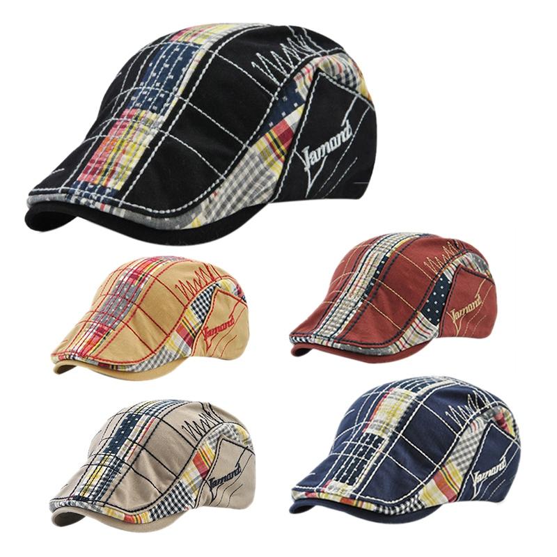 1X-JAMONT-Chapeau-Beret-Patchwork-De-Coton-Chapeau-Plat-Casquette-Plate-A-C-D1H6 miniature 17