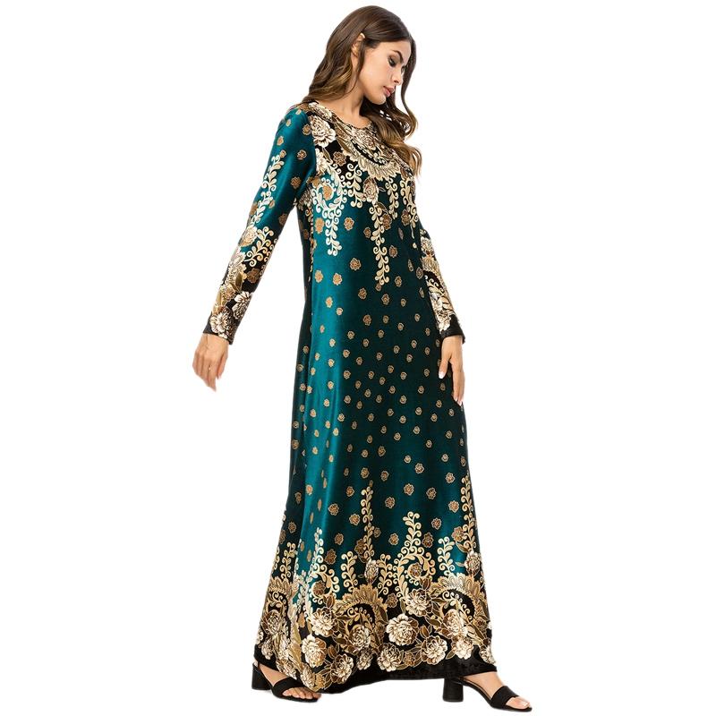 Robe-Longue-A-La-Mode-D-039-Automne-et-D-039-Hiver-pour-Femme-Robe-Longue-Imprimee-K2M6 miniature 6
