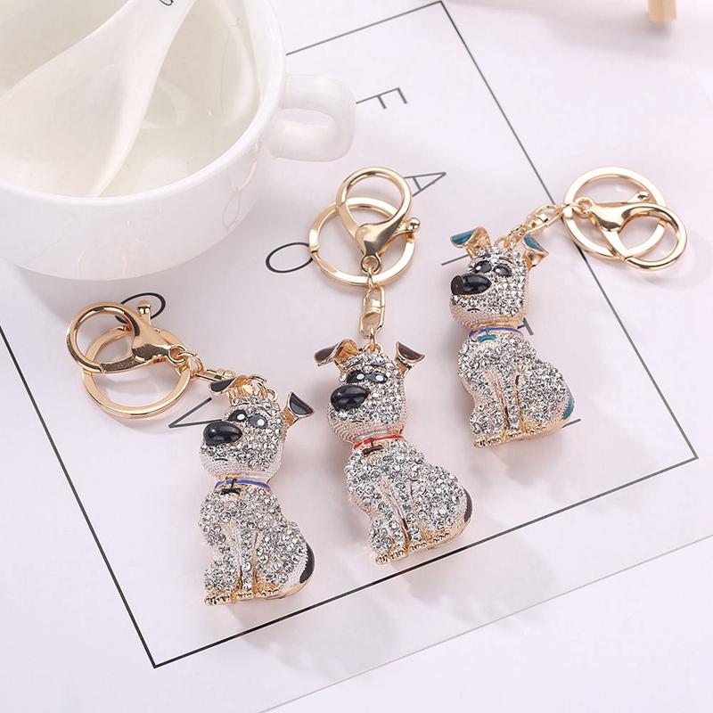 thumbnail 12 - South-Korean-Hot-Crystal-Puppy-Dog-Keychain-Key-Ring-Trinket-Purse-Bag-Car-Y5C7