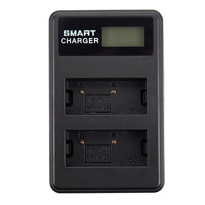 Lcd USB Cargador Dual Np-W126 Para Fujifilm Xt-10 Xt10 X-T20 X-A10 X100F XS3 1X