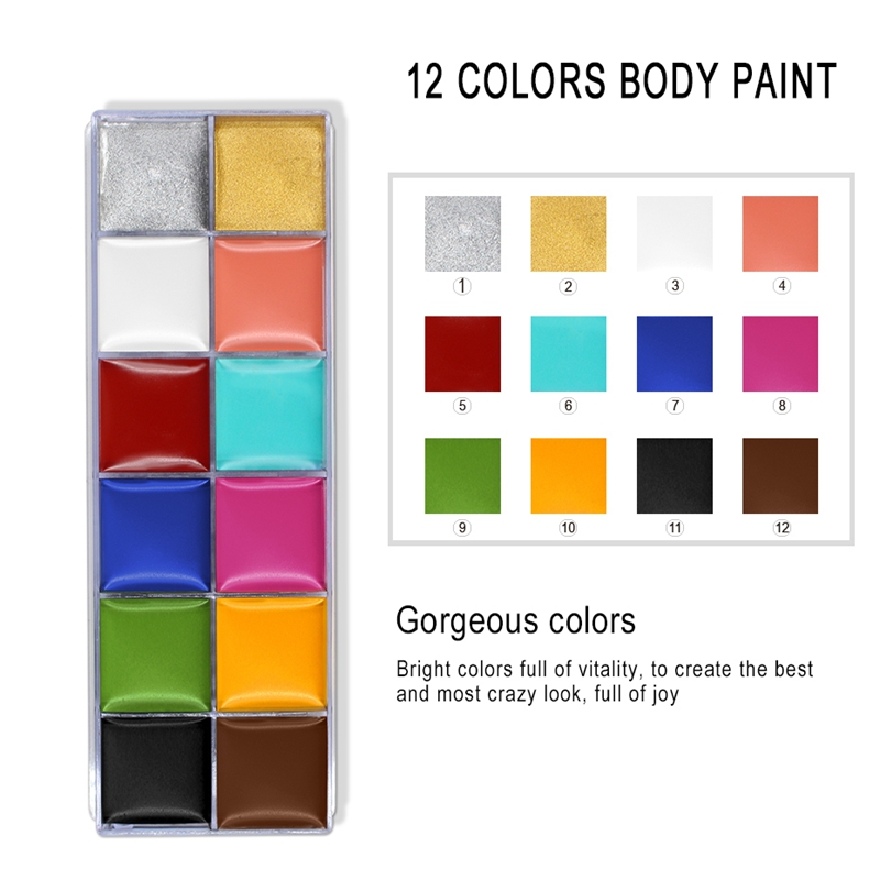 IMAGIC-12-Colors-Flash-Tattoo-Face-Body-Paint-Oil-Painting-Art-Use-In-Party-M6O2 thumbnail 4