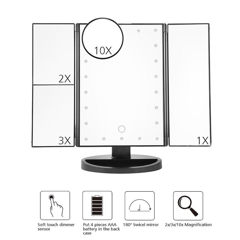 2X-LED-Press-Screen-22-Light-Makeup-Mirror-Table-Desktop-Makeup-1X-2X-3X-10-Q9T1 thumbnail 6